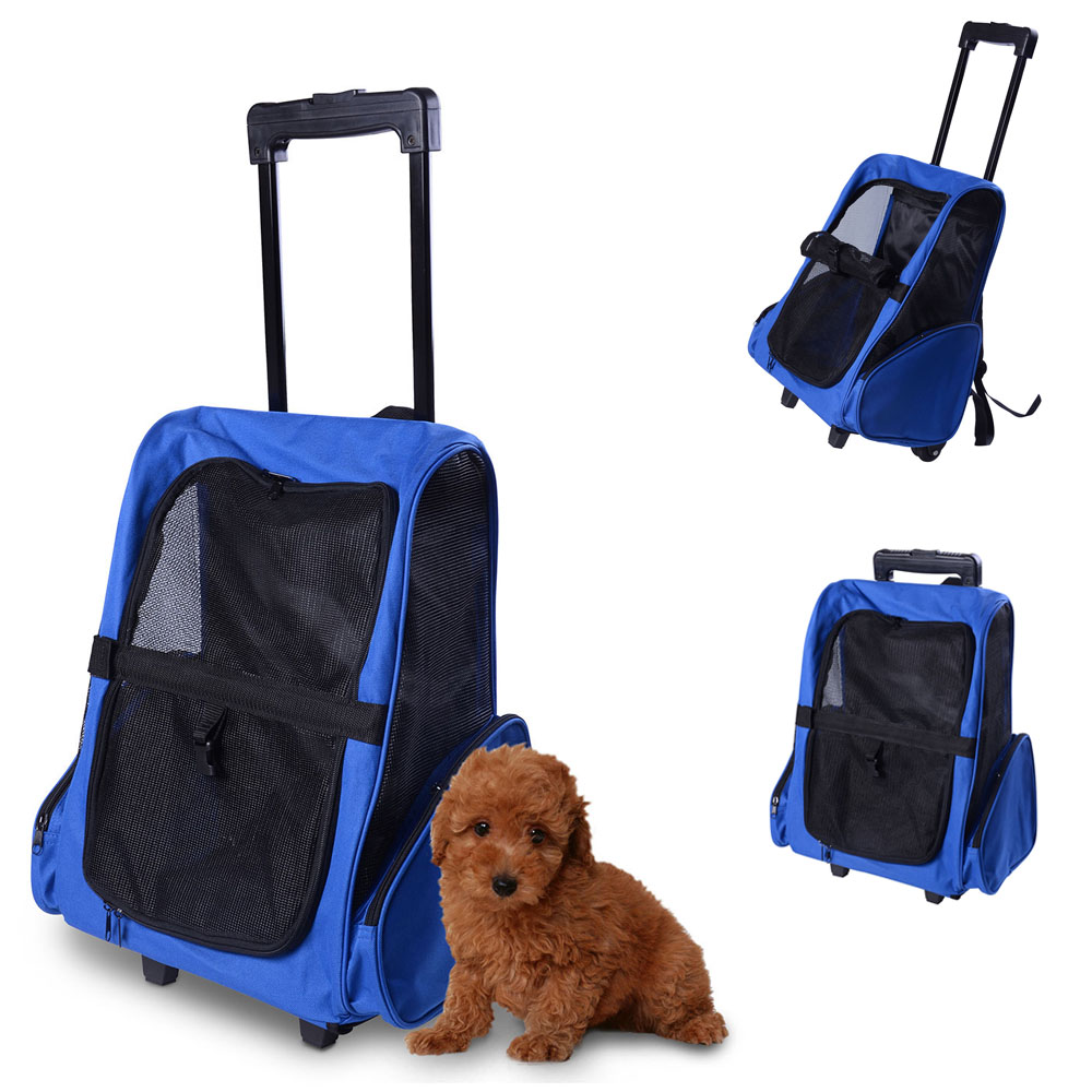 1a532c5278a1 Pet Travel Carrier Dog Puppy Trolley Luggage Bag Rolling Back Pack Blue