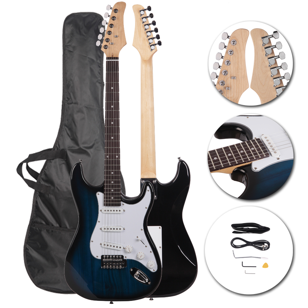 6 strings right handed electric guitar strap cord gigbag accessories blue ebay. Black Bedroom Furniture Sets. Home Design Ideas