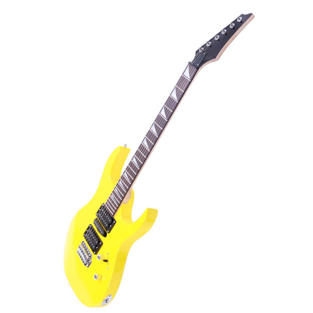 new beginner practice 6 strings right handed electric guitar set yellow ebay. Black Bedroom Furniture Sets. Home Design Ideas