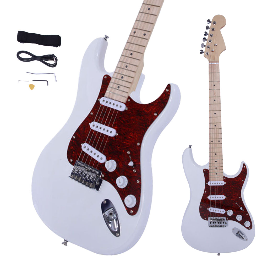 new st3 stylish white basswood 6 strings beginner 22 frets electric guitar ebay. Black Bedroom Furniture Sets. Home Design Ideas