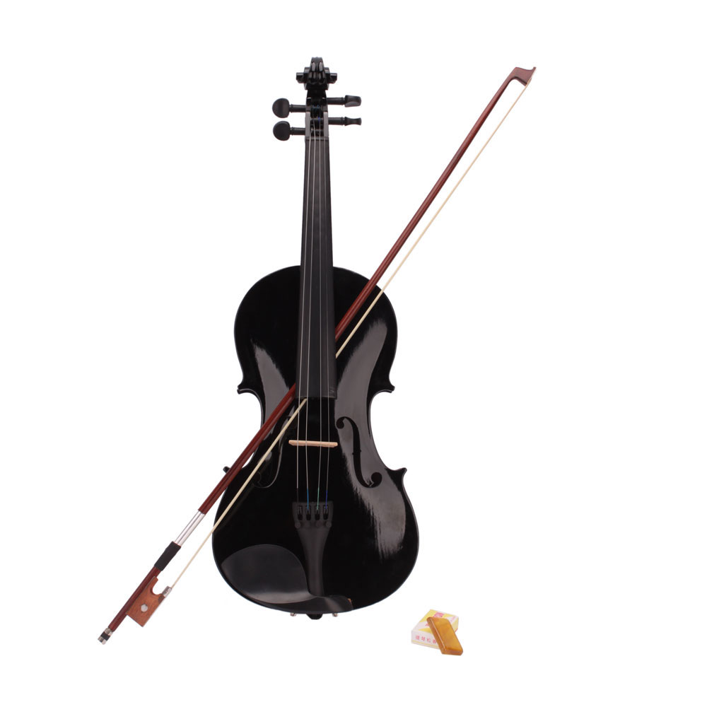 New 4/4 Full Size Acoustic Violin Fiddle Black Color